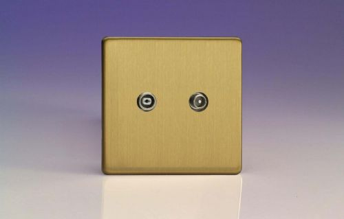 Varilight XEB2RTVS Euro Brushed Brass 2 Gang Radio/TV Termination Socket
